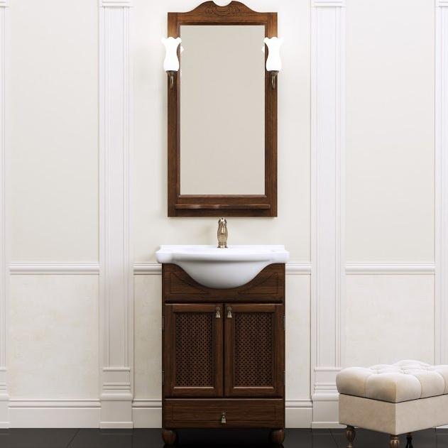 Комплект мебели для ванной Opadiris Тибет 50 с решеткой Беленый бук со светильником Рустика Бронза