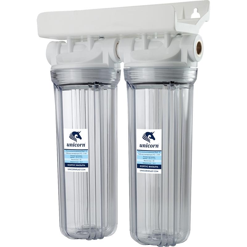 Двойной корпус магистрального фильтра Unicorn FH2P 1/2 Duo для холодной воды Прозрачный колба магистрального фильтра kristalfilter nephrite t 1 2