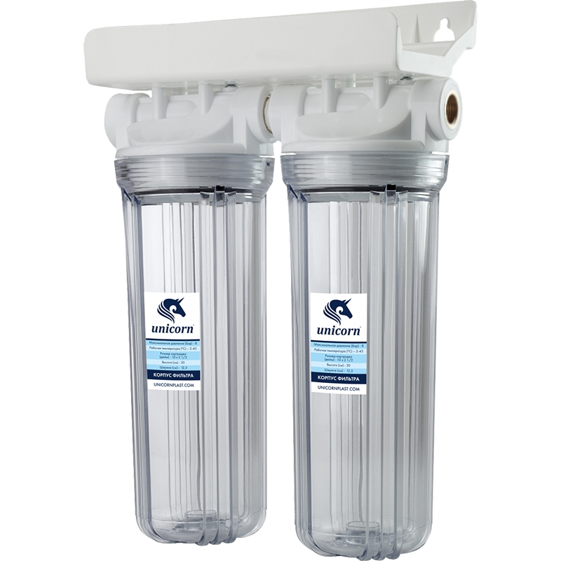 Двойной корпус магистрального фильтра Unicorn FH2P 3/4 Duo для холодной воды Прозрачный колба магистрального фильтра kristalfilter nephrite t m 3 4