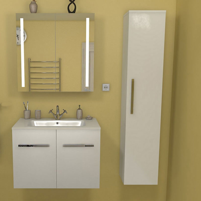 цена Зеркальный шкаф Какса-А Практик 105 004382 Белый онлайн в 2017 году