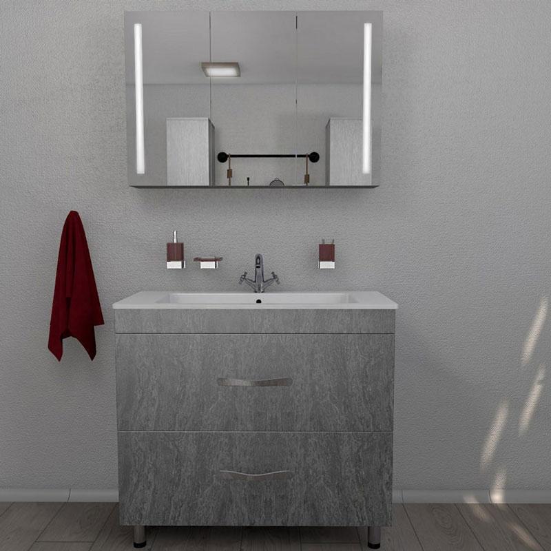 Зеркальный шкаф Какса-А Сити 80 004379 подвесной Серый гранит зеркальный шкаф vigo kolombo 80 с подсветкой серый