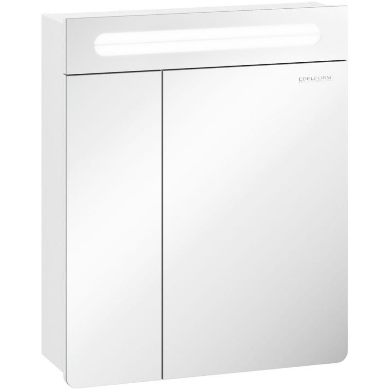 Зеркальный шкаф Edelform Glass 60 с подсветкой Белый глянец зеркальный шкаф edelform carino 100 с подсветкой черный глянец