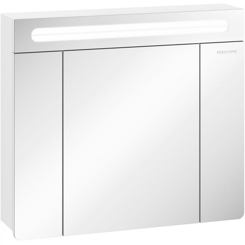 Зеркальный шкаф Edelform Glass 80 с подсветкой Белый глянец зеркальный шкаф edelform carino 100 с подсветкой черный глянец