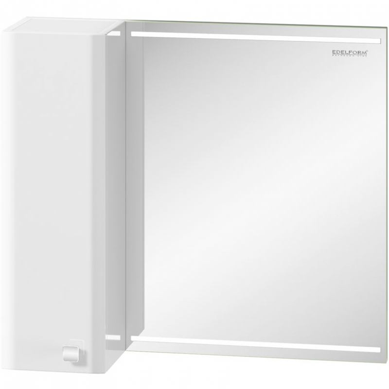 Зеркальный шкаф Edelform Nota 75 с подсветкой Серый глянец зеркальный шкаф edelform carino 100 с подсветкой черный глянец