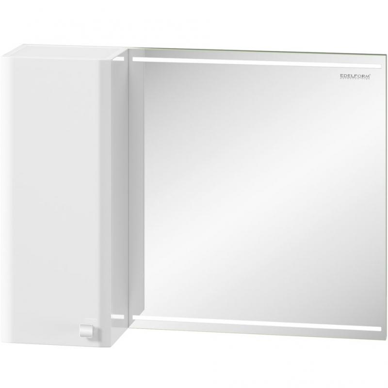 Зеркальный шкаф Edelform Nota 85 с подсветкой Белый глянец зеркальный шкаф edelform carino 100 с подсветкой черный глянец