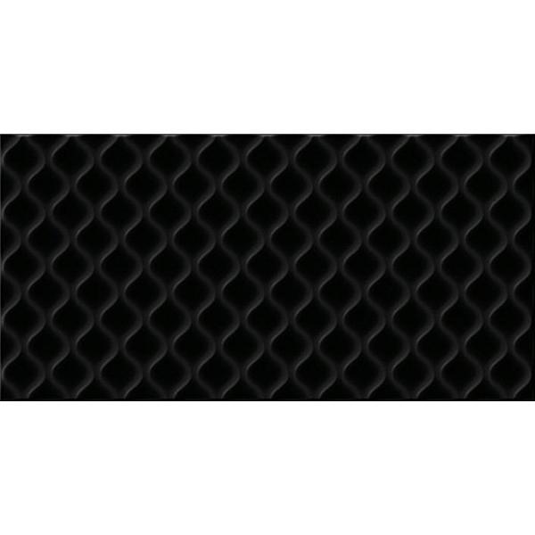 Керамическая плитка Cersanit Deco рельеф черный DEL232D настенная 29,8x59,8 см