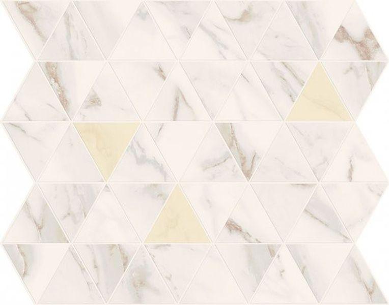 Керамический декор Marca Corona Motif Calacatta Triangle Gold Tessere Rombi E569 25х29 см керамическая мозаика marca corona delux grey tessere rombi 26х28 см