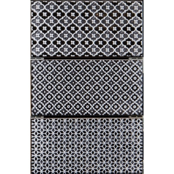 Керамический декор Monopole Ceramica Mirage Jewel Pearl Black 7,5х15 см