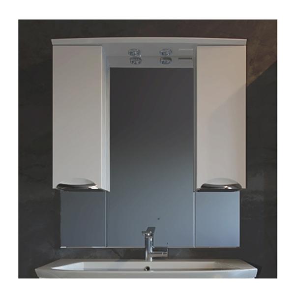 Зеркало со шкафом АСБ-мебель Мессина 100 9616 с подсветкой Белый фото