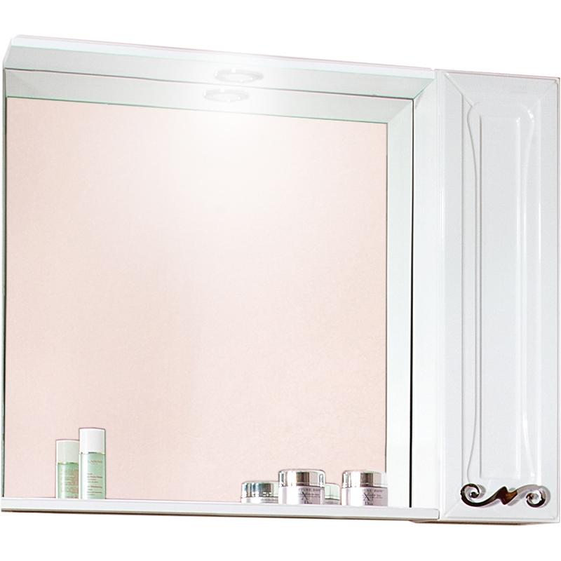 Зеркальный шкаф Бриклаер Адель 85 с 1 дверцей Белый глянцевый зеркальный шкаф бриклаер бали 40 светлая лиственница