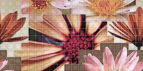 Керамический декор Fanal Mosaico Beige Decor Crema Flor-2 25x50см мозаичный декор capri i travertini mosaico intreccio crema lap ret 30x30