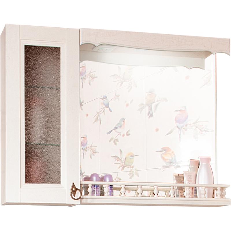 Зеркало со шкафом Бриклаер Кантри 75 с балюстрадой Бежевый дуб прованс