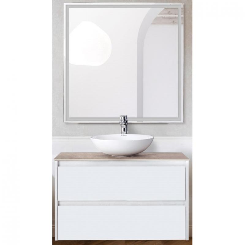 Комплект мебели для ванной BelBagno SET-KRAFT-800-BO-C-BB344-LOY-GRT-800/800 с зеркалом и смесителем Bianco Opaco, столешница - Cemento (без нанесения узора) фото