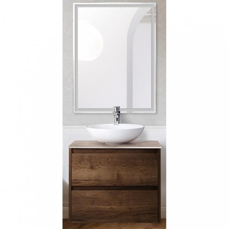 Комплект мебели для ванной BelBagno SET-KRAFT-600-RT-CDEC-BB344-LOY-GRT-600/800 с зеркалом и смесителем Rovere Tabacco, столешница - Cemento Decorato (с нанесением узора) фото