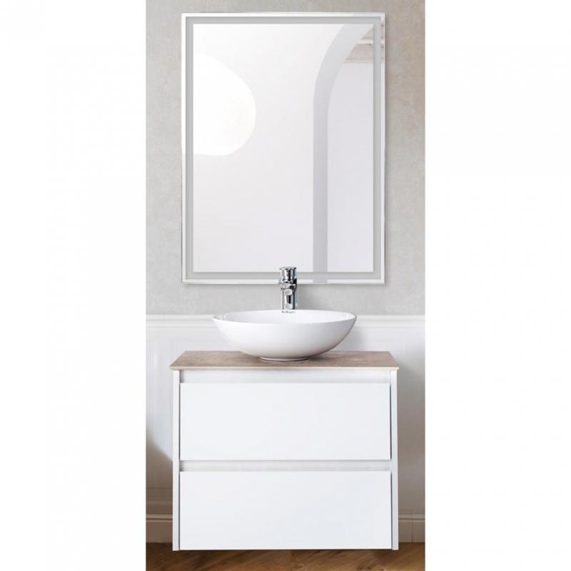 Комплект мебели для ванной BelBagno SET-KRAFT-600-BO-C-BB344-LOY со смесителем Bianco Opaco, столешница - Cemento (без нанесения узора)