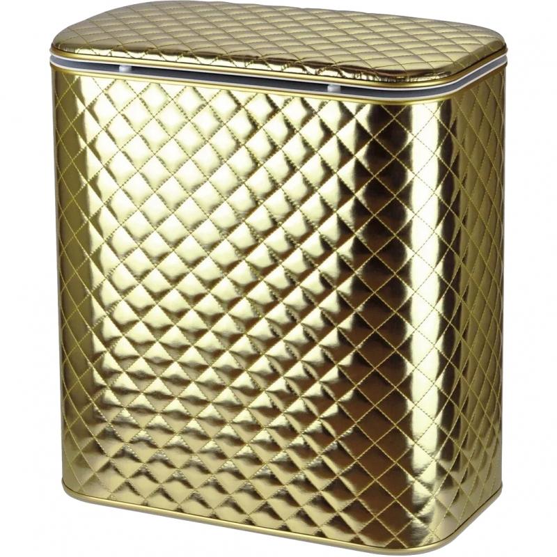 Корзина для белья Cameya Стеганая GAC-M -9 с микролифтом средняя Золотая матовая, кант золото