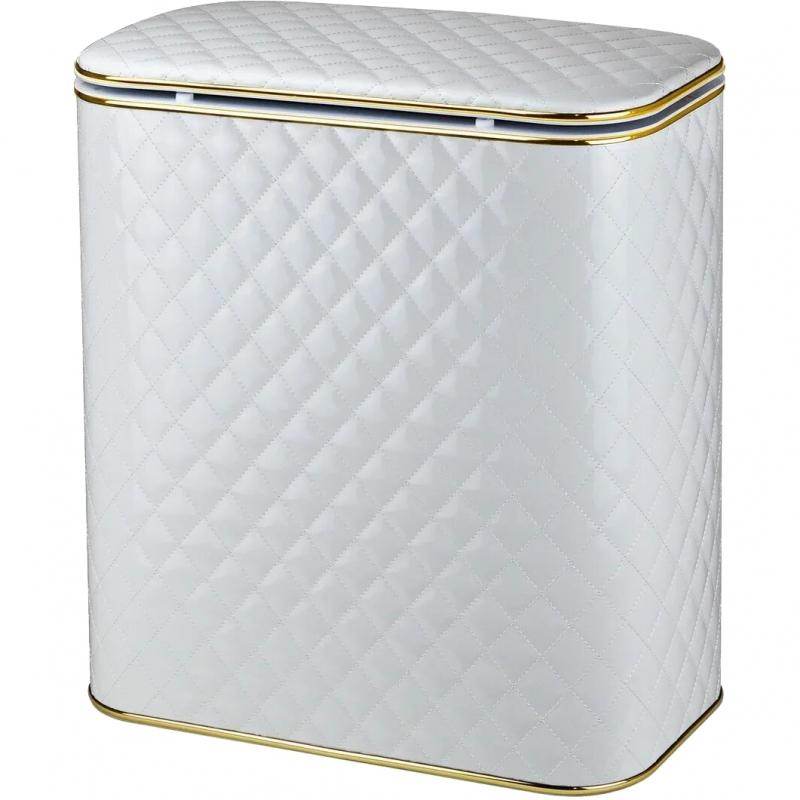 Корзина для белья Cameya Стеганая WGC-M-9 с микролифтом средняя Белая, кант золото