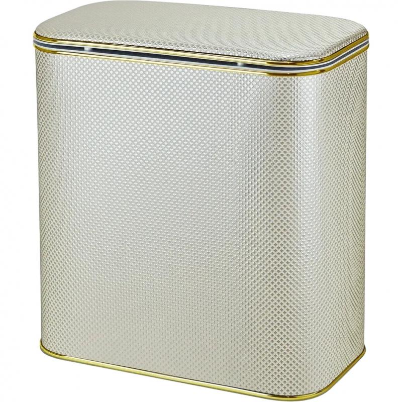 Корзина для белья Cameya Квадрат KLG-M-9 с микролифтом средняя Бежевая, кант золото