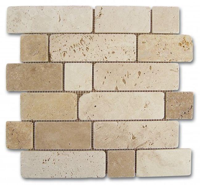Керамическая мозаика Dune Stone Mosaics Mosaico Travertino Brick 30,5х30,5 см цены онлайн