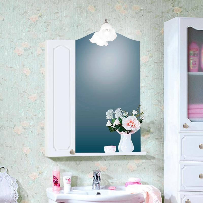 Зеркальный шкаф Бриклаер Лючия 65 Белый глянцевый зеркальный шкаф бриклаер лючия 98 белый глянцевый