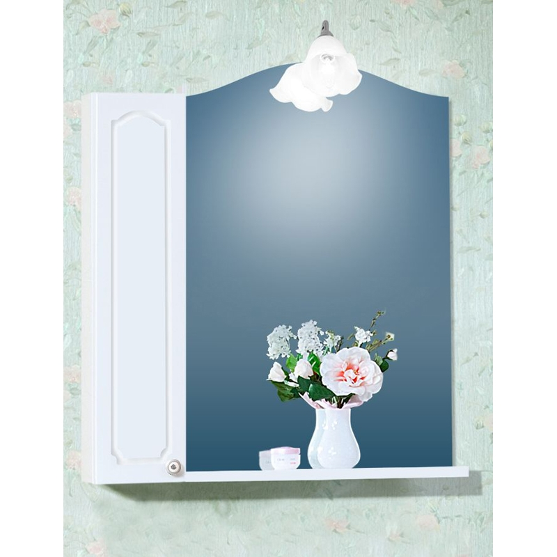 Зеркальный шкаф Бриклаер Лючия 78 Белый глянцевый зеркальный шкаф бриклаер лючия 98 белый глянцевый