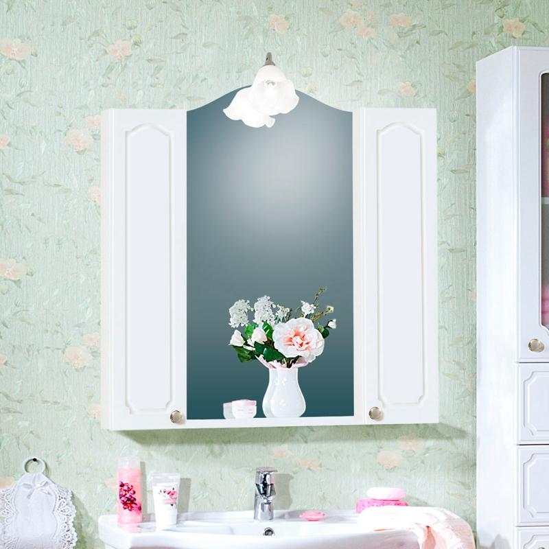 Зеркальный шкаф Бриклаер Лючия 85 Белый глянцевый зеркальный шкаф бриклаер лючия 98 белый глянцевый