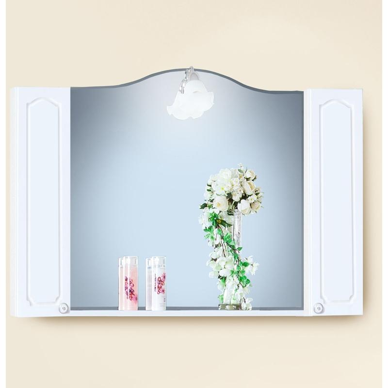 Зеркальный шкаф Бриклаер Лючия 120 Белый глянцевый зеркальный шкаф бриклаер лючия 98 белый глянцевый