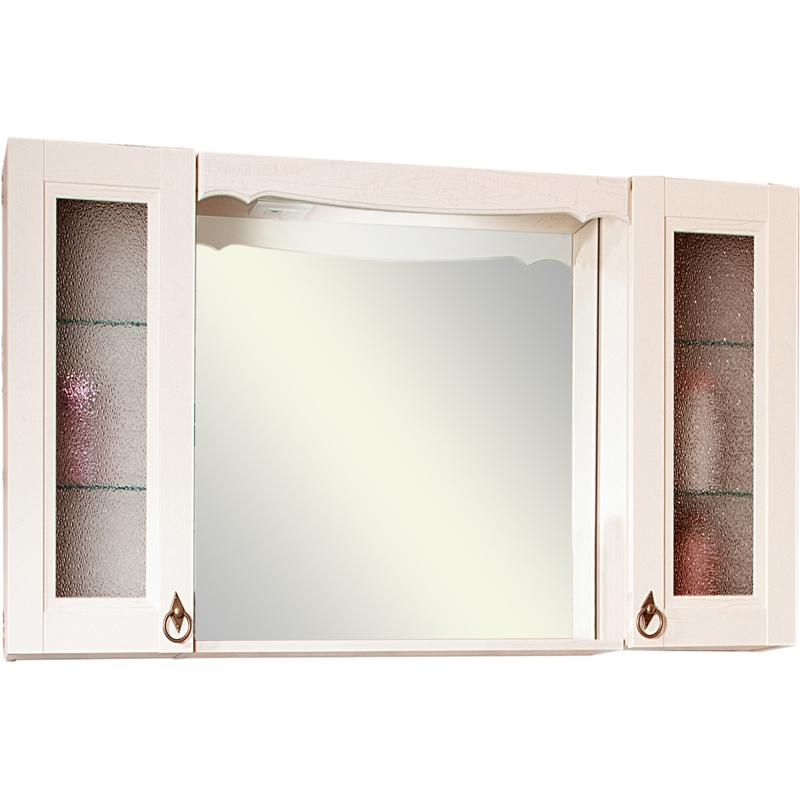 Зеркальный шкаф Бриклаер Кантри 105 с двумя шкафчиками Бежевый дуб прованс зеркальный шкаф бриклаер бали 40 светлая лиственница