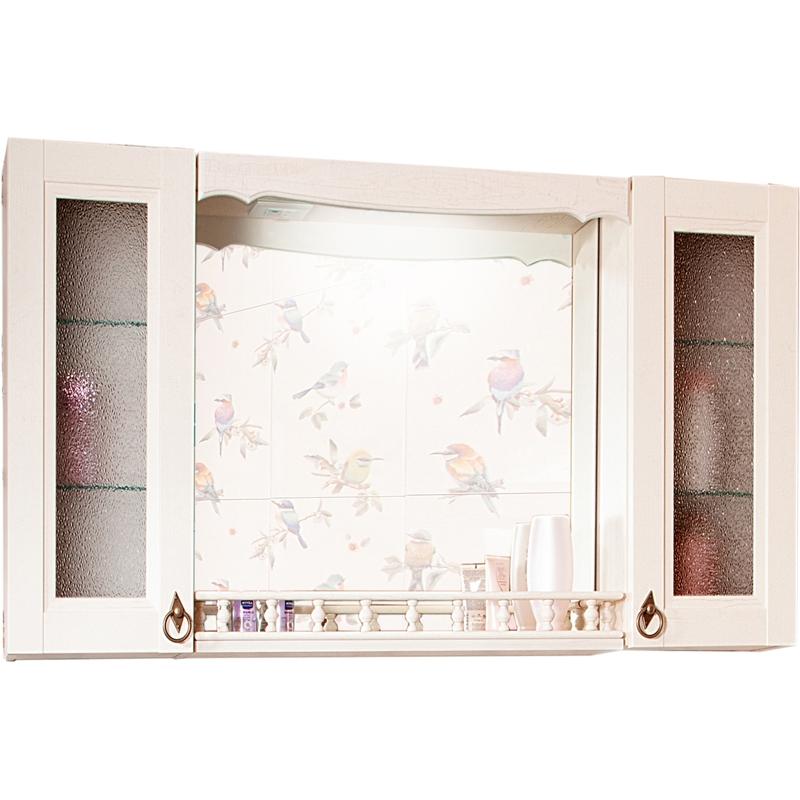Зеркальный шкаф Бриклаер Кантри 105 с балюстрадой и двумя шкафчиками Бежевый дуб прованс зеркальный шкаф бриклаер бали 40 светлая лиственница