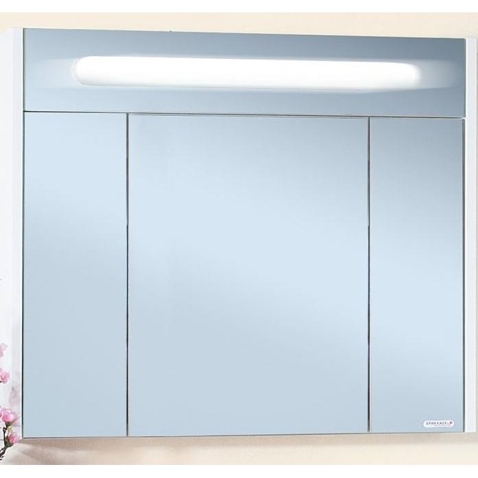 Зеркальный шкаф Бриклаер Палермо 90 с подсветкой Белый глянец