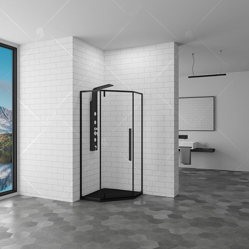 Душевой уголок RGW Stilvoll SV-81-B 100x100 профиль Черный стекло прозрачное