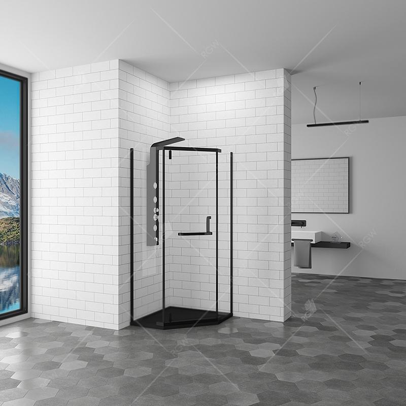 Душевой уголок RGW Hotel HO-081 B 90x90 профиль Черный стекло сатинат
