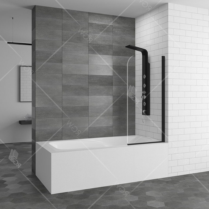Шторка на ванну RGW Screens SC-09 В 70x150 профиль Черный стекло прозрачное шторка на ванну rgw screens sc 09 70x150 профиль хром стекло прозрачное
