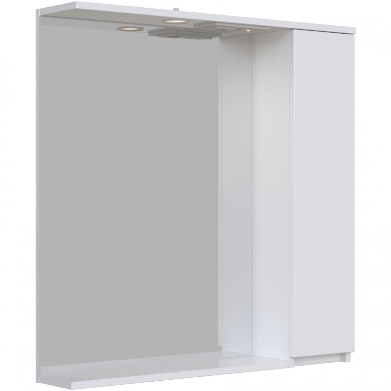 Зеркальный шкаф San Star Квадро 80 с подсветкой Белый зеркальный шкаф san star селена 80 с подсветкой белый