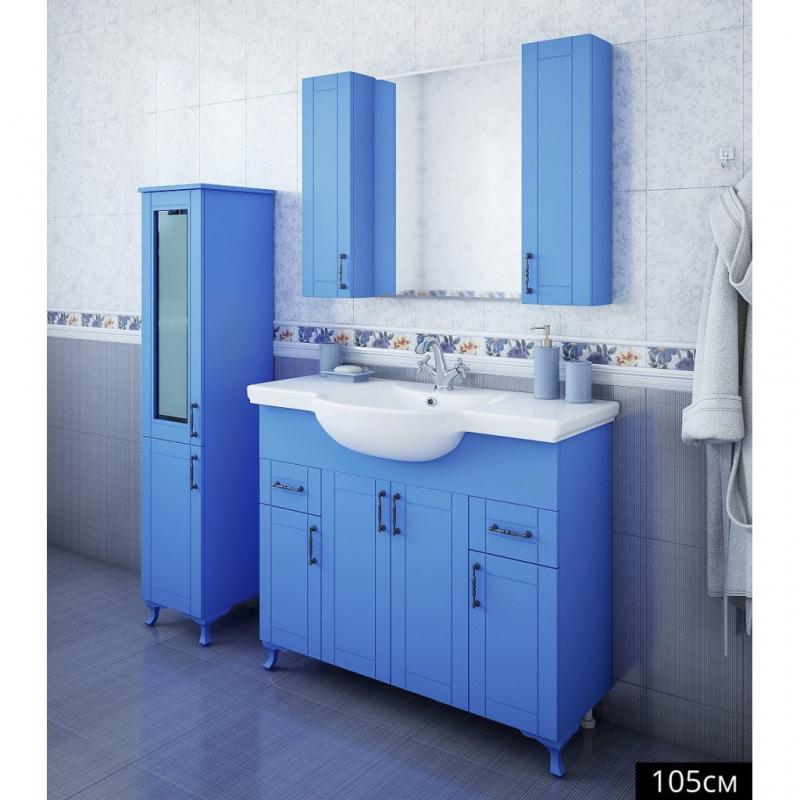 цена на Зеркало со шкафом Sanflor Глория 105 С000005703 Голубое