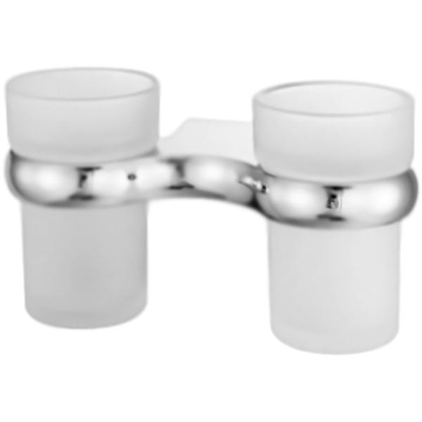 Berkel K-6828D ХромАксессуары для ванной<br><br>Два стеклянных стакана для зубных щеток Wasser Kraft Berkel K-6828D с настенным держателем. Округлые, плавные формы характеризуют коллекцию Berkel, создавая воздушную легкость в интерьере, комфорт, наслаждение и положительные эмоции.<br><br><br>Материал держателя: металл.<br>Покрытие: хромоникелевое.<br>Материал стаканов: матовое стекло.<br>Уплотнительные пластиковые кольца.<br><br><br>В комплекте поставки:<br>два стакана;<br>настенный держатель.<br><br>