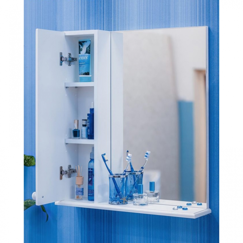Зеркало со шкафом Sanflor Карина 60 R Н0000000809 Белое фото