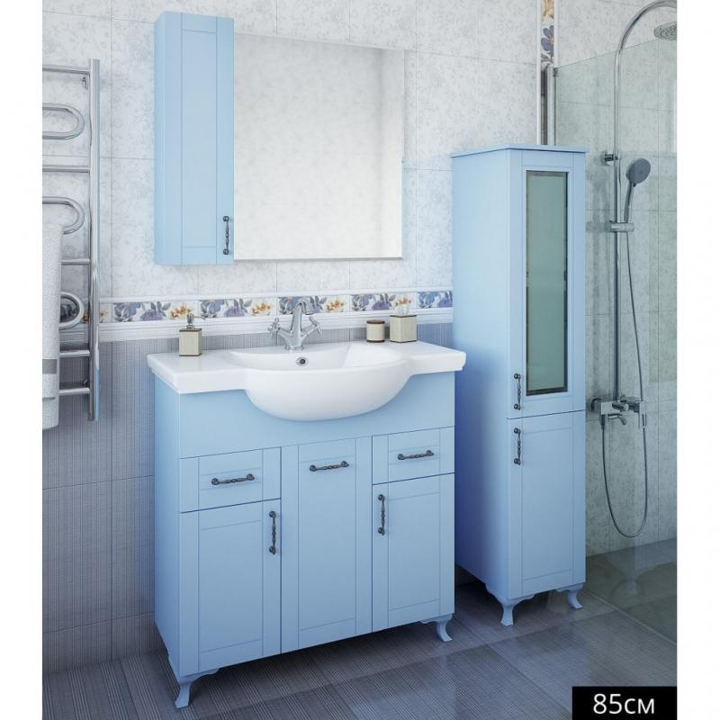 Зеркало со шкафом Sanflor Глория 85 R С000005692 Голубое зеркало со шкафом sanflor глория 85 r с000005689 белое