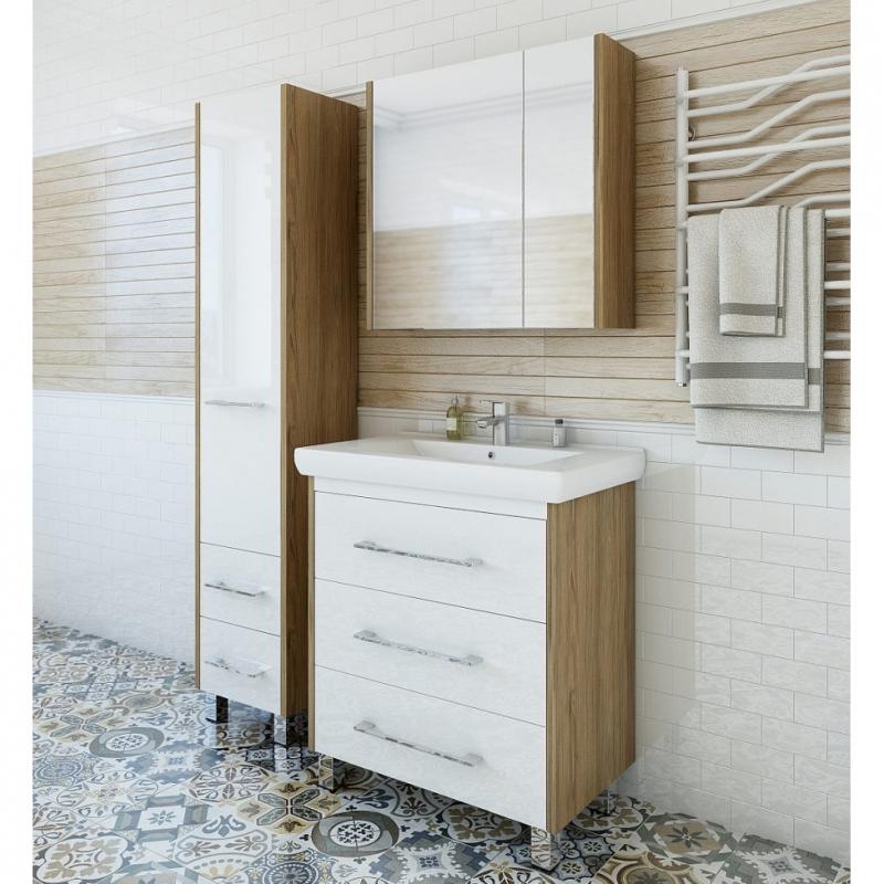 Зеркальный шкаф Sanflor Ларго 80 L Н0000000043 Швейцарский вяз