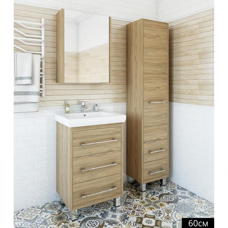 Зеркальный шкаф Sanflor Ларго 60 R Н0000000039 Швейцарский вяз зеркальный шкаф bellezza пегас 60 r черный