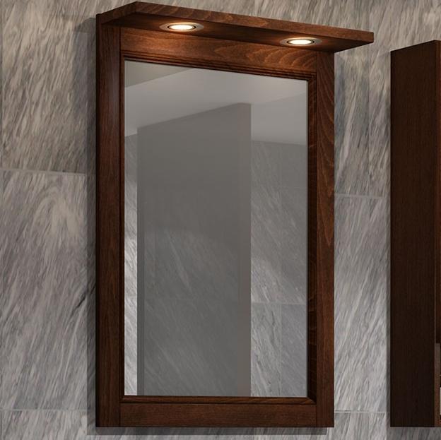 Зеркало Opadiris Клио 56 Z0000014974 с подсветкой Орех антикварный зеркало в деревянной раме opadiris клио 65 антикварный орех для светильников 00000001041 z0000001408 z0000004272