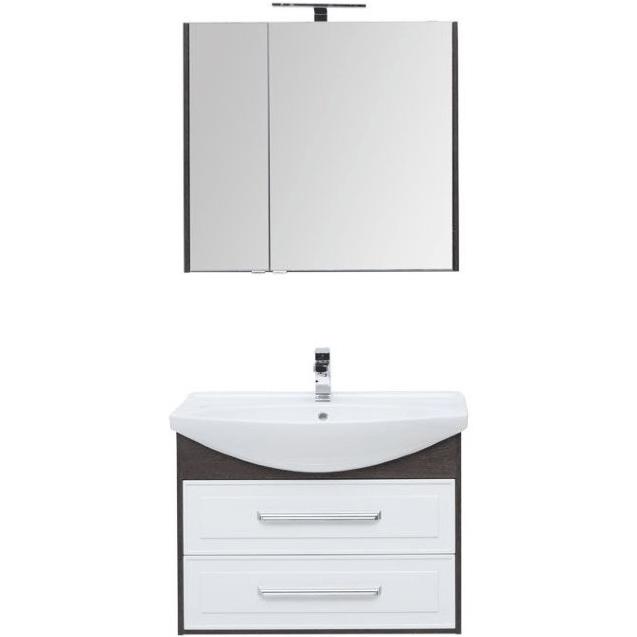 Комплект мебели для ванной Aquanet Остин 85 252221 подвесной Белый глянец Дуб кантербери aquaton идель 85 дуб белый умывальник america 85