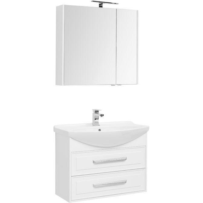 Фото - Комплект мебели для ванной Aquanet Остин 85 252219 подвесной Белый глянец комплект мебели для ванной aquanet йорк 60 203642 подвесной белый глянец