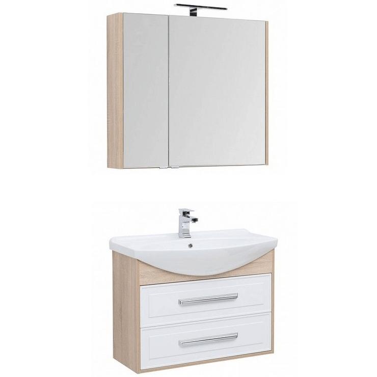 Комплект мебели для ванной Aquanet Остин 85 252220 подвесной Белый глянец Дуб сонома aquaton идель 85 дуб белый умывальник america 85