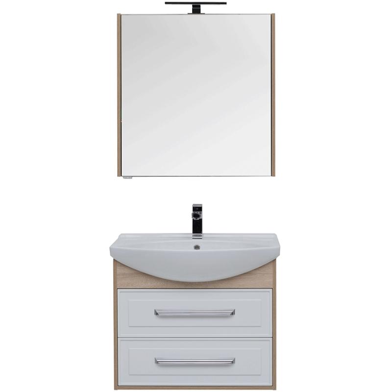 Комплект мебели для ванной Aquanet Остин 75 209015 подвесной Белый глянец Дуб сонома мебель для ванной aquanet грейс 60 дуб сонома белый 2 дверцы
