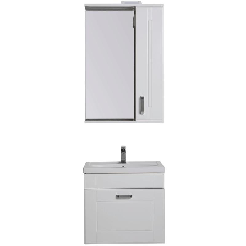 Комплект мебели для ванной Aquanet Рондо 60 195703 подвесной Белый шкаф зеркало aquanet рондо 60 белый 189164