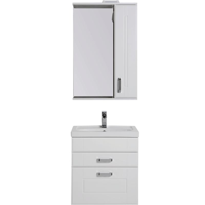 Комплект мебели для ванной Aquanet Рондо 60 195704 подвесной Белый шкаф зеркало aquanet рондо 60 белый 189164