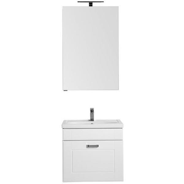 Комплект мебели для ванной Aquanet Рондо 60 195697 подвесной Белый шкаф зеркало aquanet рондо 60 белый 189164