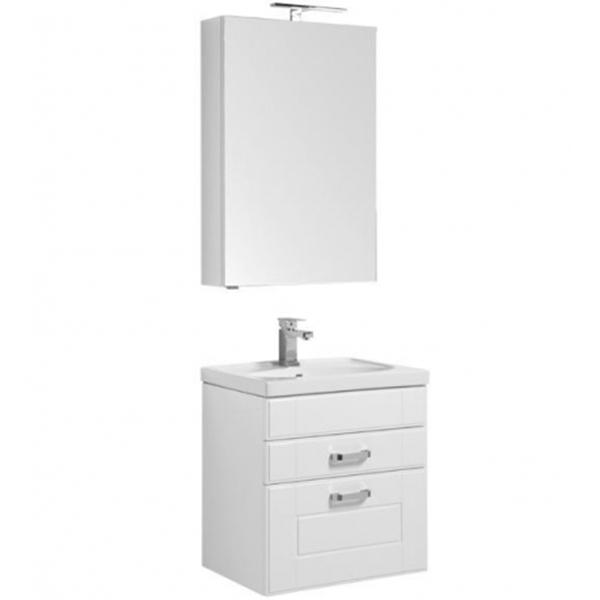 Комплект мебели для ванной Aquanet Рондо 60 195699 подвесной Белый шкаф зеркало aquanet рондо 60 белый 189164