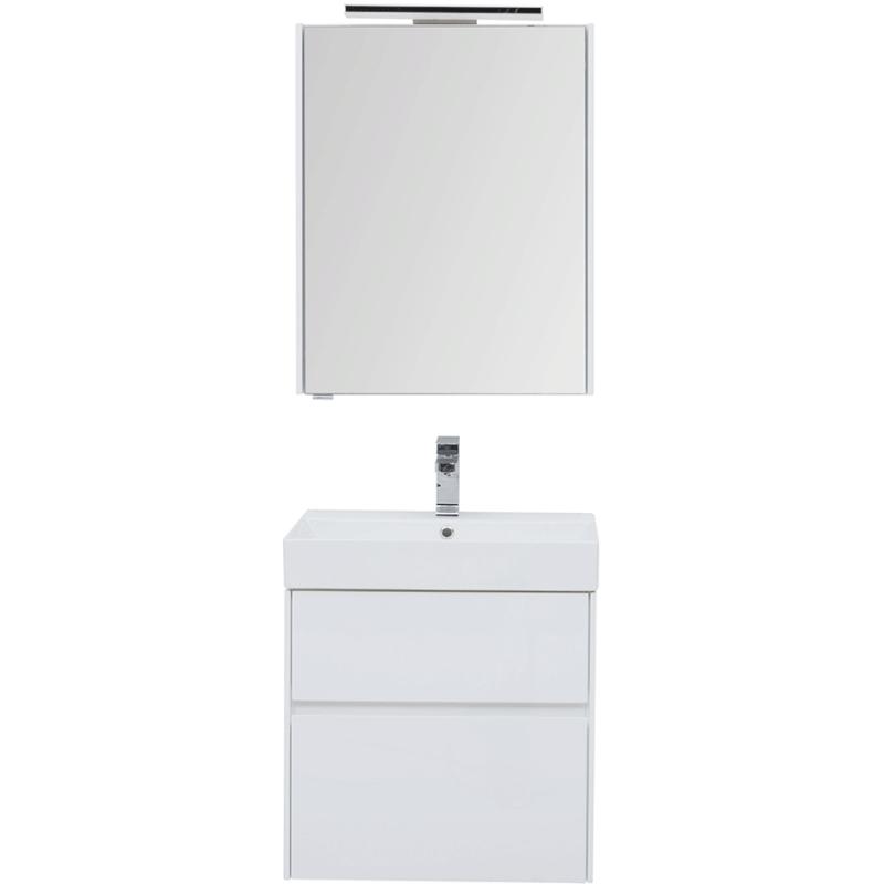 Фото - Комплект мебели для ванной Aquanet Бруклин 60 207803 подвесной Белый глянец комплект мебели для ванной aquanet йорк 60 203642 подвесной белый глянец
